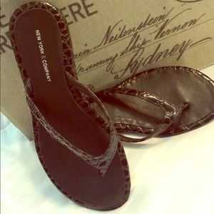 Brown Patten Leather Reptile Pattern NY&Co Sandals